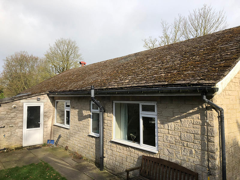 Bungalow Roof with moss, Buxton