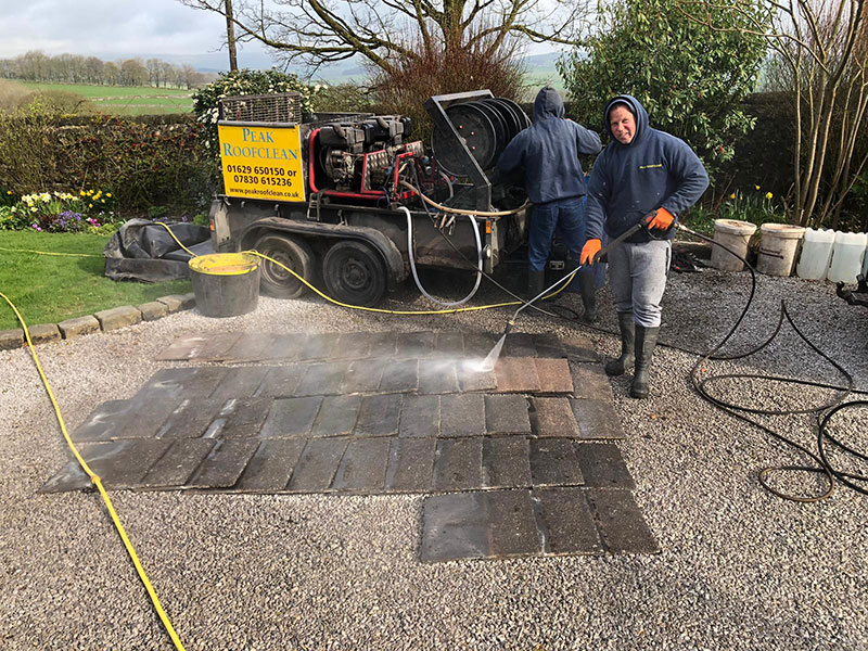 Pressure washing tiles - roof cleaning buxton